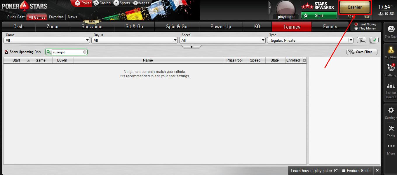 касса покерного рума pokerstars